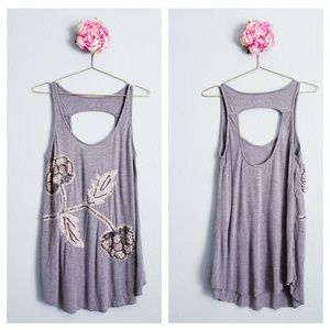 Free People Slouchy Sequin & Beaded Open back Tank